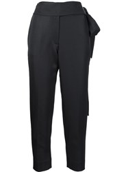 Iro Tie Waist Detail 'Sheava' Cropped Tapered Trousers Black