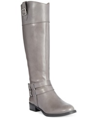 Inc International Concepts Fahnee Leather Wide Calf Riding Boots Women's Shoes Gray Wc