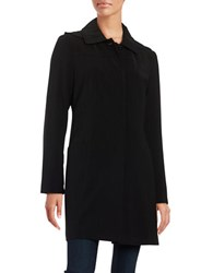 Gallery Petite Button Front Rain Coat Black