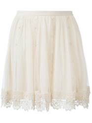 Red Valentino Tulle Mini Skirt Nude And Neutrals