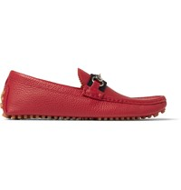 Gucci Horsebit Grained Leather Driving Shoes Red