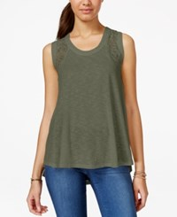 Hippie Rose Juniors' Lace Trim Rib Knit Swing Tank Top Camo Olive