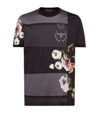 Dolce And Gabbana Floral Print T Shirt Male Navy