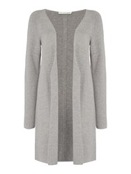 Oui Long Ribbed Cardigan Grey