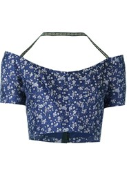 Etro Floral Brocade Crop Top Blue