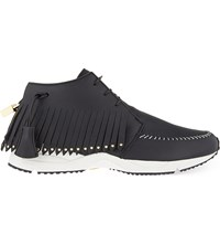 Buscemi Gladiator Fringed Leather Running Shoes Black