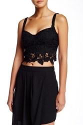 Madison Square Wilde Heart Lace Crop Tank Black