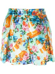 Moschino Floral And Traffic Cone Print Shorts Multicolour