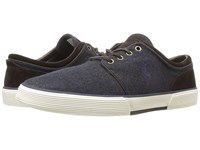 Polo Ralph Lauren Faxon Low Navy Dark Brown Solid Flannel Sport Suede Men's Lace Up Casual Shoes Black