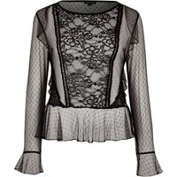 River Island Womens Black Mesh Lace Top