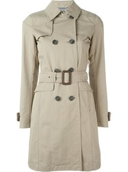 Herno Double Breasted Trench Coat Nude And Neutrals