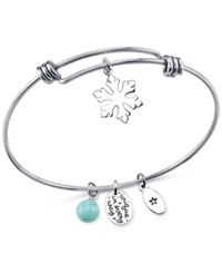Unwritten Unique Snowflake Charm And Amazonite 8Mm Adjustable Bracelet In Stainless Steel