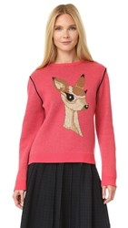 Pushbutton Deer Sweater Pink