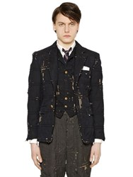 Thom Browne Destroyed Piping Wool Canvas Jacket