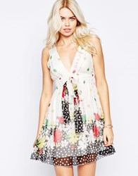 Traffic People Silk Tea Dress In Polka Floral Print Multi