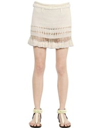 Isabel Marant Cotton Knit Skirt With Tassel Trim
