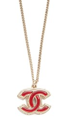 Wgaca Previously Owned Chanel Enamel Cc Necklace Gold Red