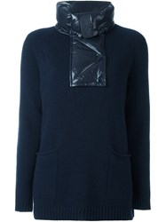 Moncler Padded Collar Knitted Jumper Blue