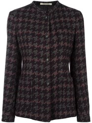 Massimo Alba Tweed Houndstooth Collarless Coat Brown