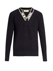 Maison Kitsune V Neck Ribbed Knit Wool Sweater Navy