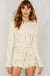 Skivvies By For Love And Lemons Emanuelle Ruffle Romper Beige