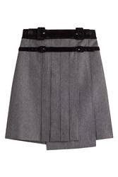 Carven Pleated Wool Skirt Grey