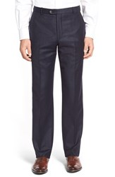 Men's Hickey Freeman 'B Series' Flat Front Solid Wool And Cashmere Trousers Navy