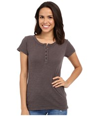 Dylan By True Grit Soft Slub Short Sleeve Button Henley Tee Charcoal Women's T Shirt Gray