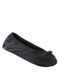 Isotoner Satin Ballerina Slippers Black