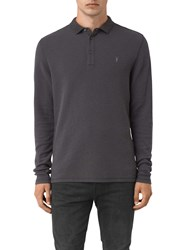 Allsaints Clash Long Sleeve Polo Shirt Washed Black