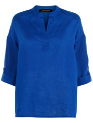 Jaeger Linen V Neck Top Bright Blue