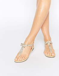 Oasis Bow Front Flat Sandals Gold