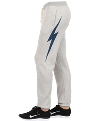 Lightning Bolt Cotton Blend Jogging Pants Grey Blue