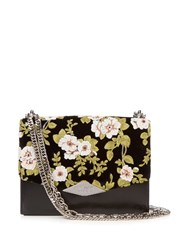 Rochas Embroidered Velvet And Leather Shoulder Bag Black Multi