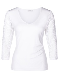 Kaliko Lace Jersey Sleeve Top Ivory