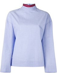 Cedric Charlier Striped High Neck Blouse Blue