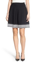 Women's Ivanka Trump Border Stripe A Line Knit Skirt Black White