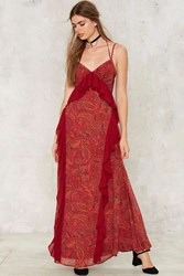 Nasty Gal Paisley To Play Maxi Dress Red