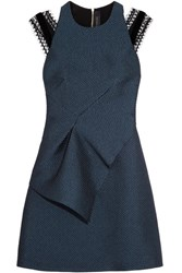 Roland Mouret Torrens Lace Trimmed Organza Mini Dress Navy