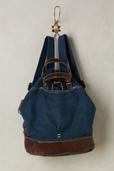 Anthropologie Washed Canvas Backpack Navy