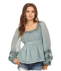 Free People Moonchaser Peasant Top Blue Women's Blouse