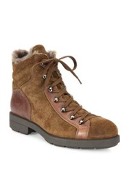 Aquatalia By Marvin K Lettie Suede Leather And Shearling Hiking Boots Chestnut Black