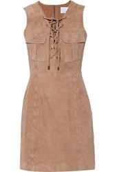W118 By Walter Baker Ellie Lace Up Suede Dress Brown