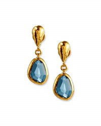 Gurhan Amorphous Blue Topaz Earrings In 24K Gold