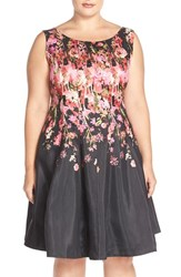 Plus Size Women's Gabby Skye Floral Shantung Fit And Flare Dress