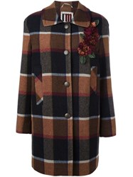 I'm Isola Marras Checked Single Breasted Coat Brown