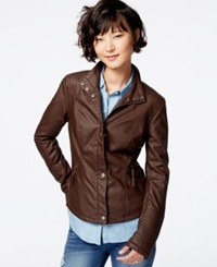Celebrity Pink Faux Leather Moto Jacket Brown