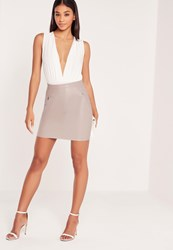 Missguided Double Zip Pocket Faux Leather Mini Skirt Grey Mauve