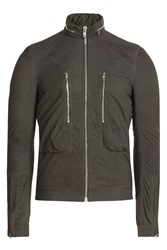 Rick Owens Men Suede Jacket Grey