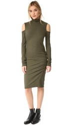 Pam And Gela Cold Shoulder Turtleneck Dress Olive